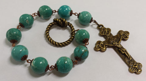 Oversized Linear Rosary, 14mm Magnesite Turquoise Stone Beads - READY TO SHIP