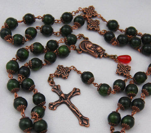 Oversized Traditional Heirloom-quality Rosary, 8mm green aventurine beads - READY TO SHIP