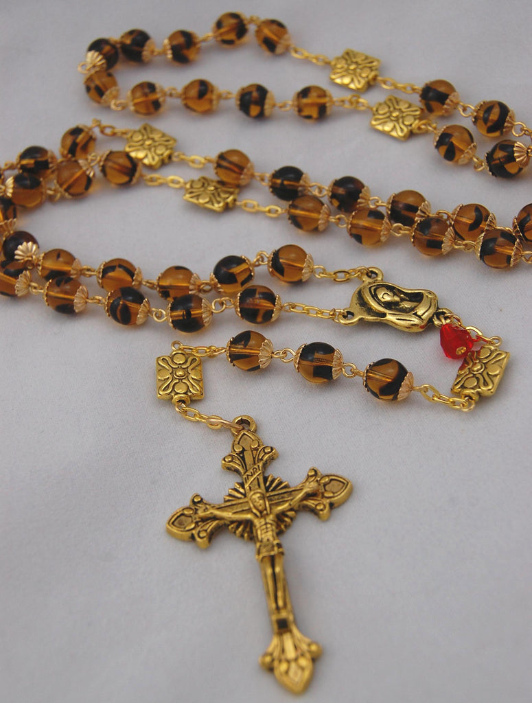 Oversized Traditional Heirloom-quality Rosary, 8mm tortoise shell glass beads - READY TO SHIP