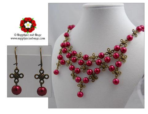 """Celtic Knot"" Bib Necklace and Earrings Set"