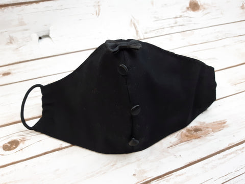 Face Mask with Filter Pocket:  Wedding Groom - Black with Bow Tie and Tuxedo Buttons