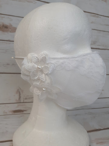 Face Mask with Filter Pocket:  White with Bridal Lace Overlay and Flowers