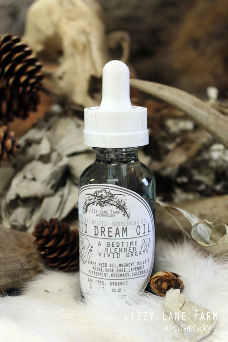 Lucid Dream Oil- Mugwort Oil, Psychic Dream Oil, Dream Spell, Dreams, Dream Magick - Lizzy Lane Farm Apothecary