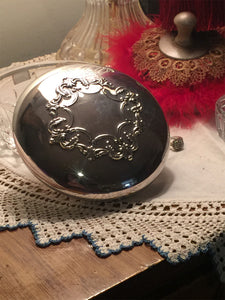 Vintage Powder Jar Gift Set-Vintage Reed & Barton Sterling Silver Cut crystal Powder Dish - Lizzy Lane Farm Apothecary