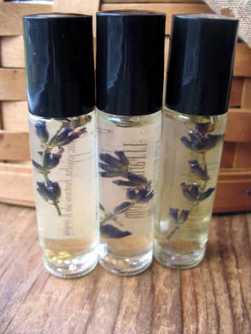 organic personal french lavender perfume in roll on glass bottle