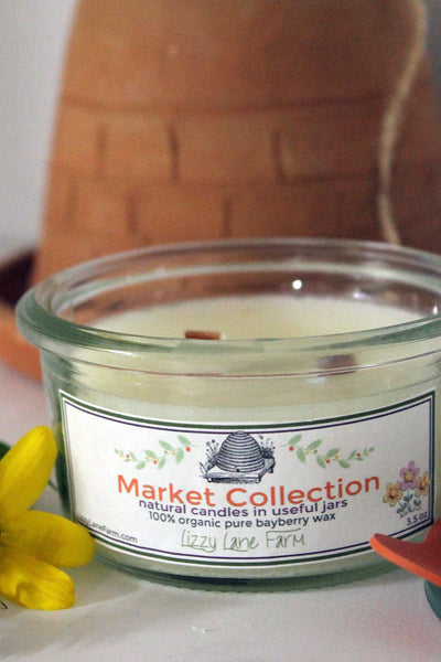 ivory beeswax weck jar crackle wick candle 3.5 oz.