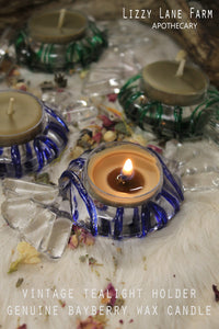 Vintage Candy Mint Shaped Tealight Holder with set of 2 Genuine Bayberry wax candles | Gift Box|