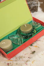 Load image into Gallery viewer, Vintage Candy Mint Shaped Tealight Holder with set of 2 Genuine Bayberry wax candles | Gift Box|