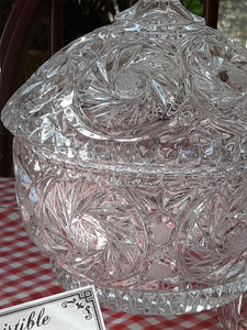 Vintage Vanity Powder Jar Gift Set, Large Cut Crystal Covered Powder Dish - Lizzy Lane Farm Apothecary