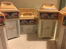 Load image into Gallery viewer, Mepoco Art Deco Caister Set, roses, mustard, German Porcelain Lusterware, 7 pc. - Lizzy Lane Farm Apothecary