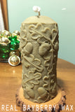 Genuine Bayberry Wax Pillar Candle- Oak leaves and acorns