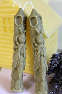 True Bayberry Candles-Bees on hive Taper Sculptured Candle | Real Bayberry Wax - Lizzy Lane Farm Apothecary