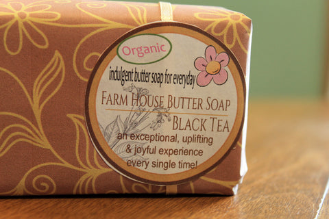 Farm House Butter Bar Soap: Black Tea Leaf gift wrapped