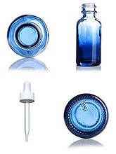 Load image into Gallery viewer, blue shaded boston roud bottles with dropper caps 1 ounce