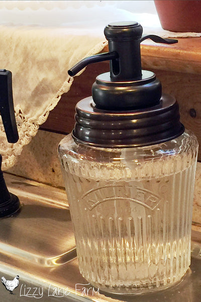 antique kilner jar soap dispenser with farmhouse style soap pump. brushed bronze finish