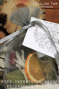 happy little sachet bags full of potpourri, dried herbs, inspirational post card and you intention oil,