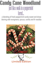 Load image into Gallery viewer, Limited Edition- CANDY CANE WOODLAND- Personal Perfume Oil ~ Wax Tart Melts ~ Dusting Powder ~  Scent Shots ~ Farm House Butter Bar Soap - Lizzy Lane Farm Apothecary