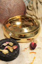 Load image into Gallery viewer, Brass Charcoal Burner with Wooden Flower Coaster