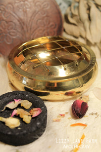 Brass Charcoal Burner with Wooden Flower Coaster