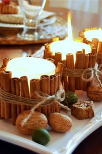 cinnamon sticks crafts, candle holders