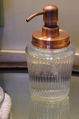 copper top antique kilner soap dispenser