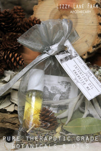 happy little sachet bags full of potpourri, dried herbs, inspirational post card and your intention oil