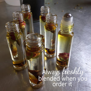 intention oils designed to help where ever needed. Aromatherapy at its best. Always blended when your order is placed so you know the oils and dried herbs are at their peak freshness.