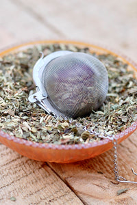 "Tea Ball Infuser- large 3"" Mesh tea ball- Sunflower and Heart charm ball - Lizzy Lane Farm Apothecary"