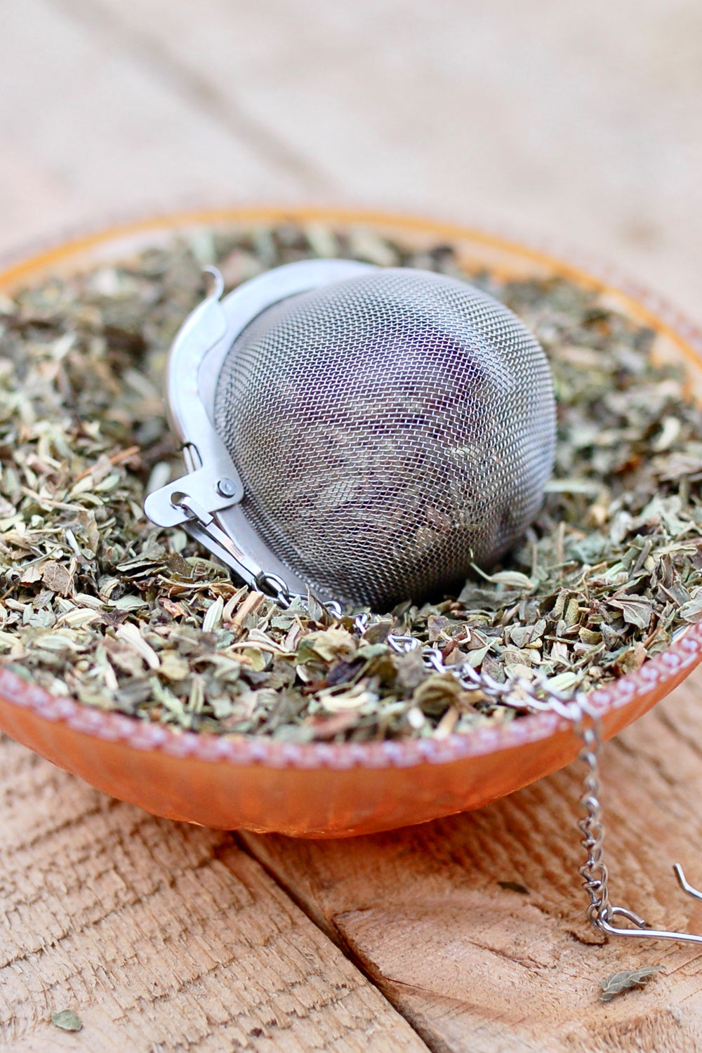 "Tea Ball Infuser- small 2"" mesh tea ball- heart and starfish - Lizzy Lane Farm Apothecary"