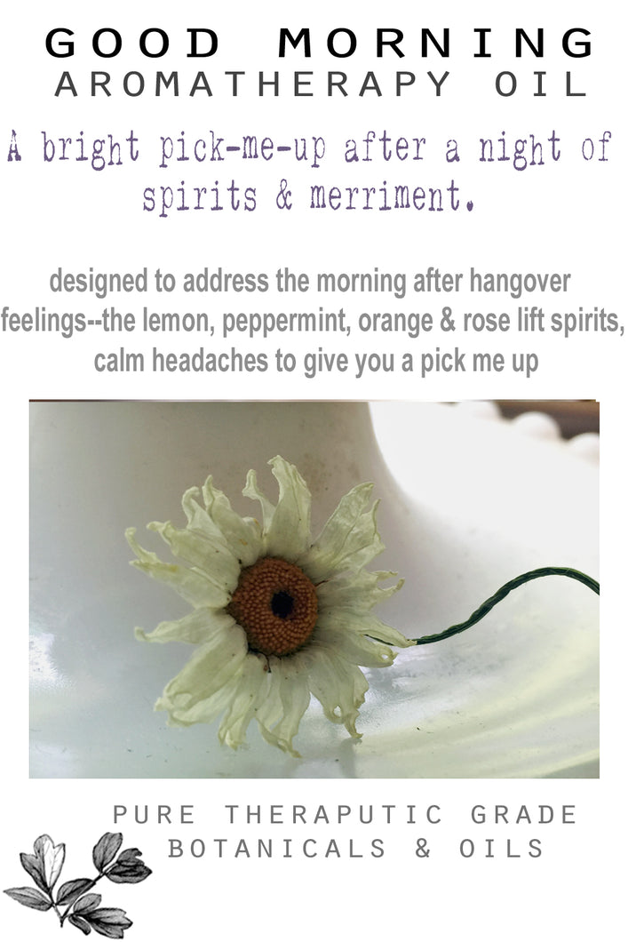Aromatherapy oil- Good Morning- for hangovers - Lizzy Lane Farm Apothecary