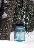 vintage blue ball mason jar hanging solar light