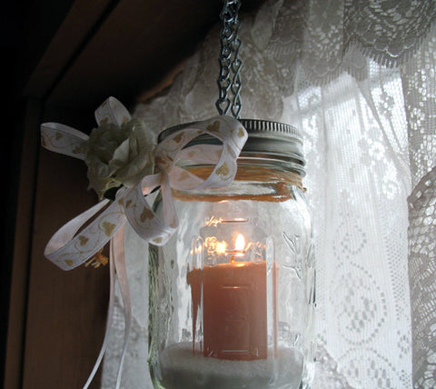 hanging mason jar luminary, tea light jar, flower vase pint jar