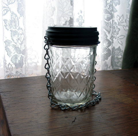 small quilted jelly jar hanging solar light