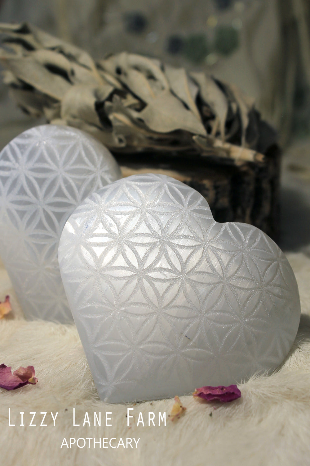 Selenite Heart- Flower of Life Engraved Heart