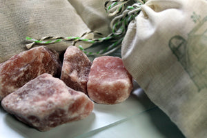Himalayan Salt -Salt Chunks in muslin bag - Lizzy Lane Farm Apothecary
