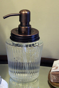 Bronze Antique Kilner Jar Soap Dispenser with Stainless Steel Lid in a Brushed Bronze finish and pump.