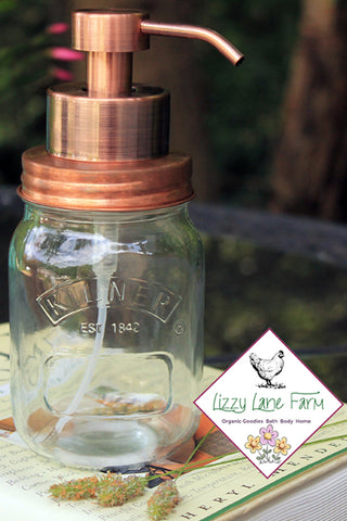 kilner preserve jar soap dispenser, copper foaming soap pump