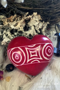 Red Carved Soapstone Heart | Worry Stone | Palm Stone | A peaceful calming stone