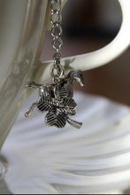 "Load image into Gallery viewer, Tea Ball Infuser- large 3"" Mesh tea ball- Horse and 4 Leaf Clover Charm Ball - Lizzy Lane Farm Apothecary"