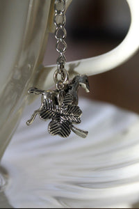 "Tea Ball Infuser- large 3"" Mesh tea ball- Horse and 4 Leaf Clover Charm Ball - Lizzy Lane Farm Apothecary"