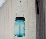 hanging mason jar solar light, vintage blue ball pint jar