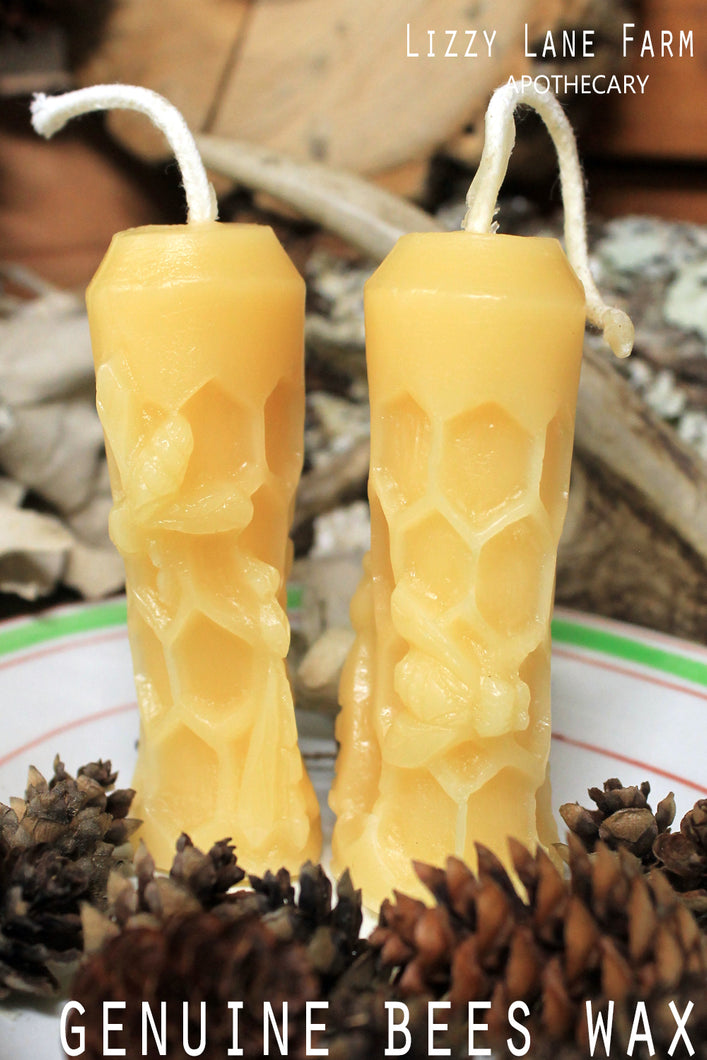 bees wax mini taper candle bees on hive