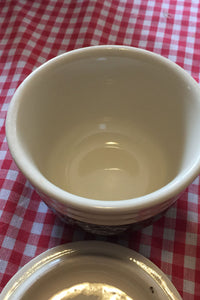 Oxford Pottery Covered Bowl- brown and cream star flower pattern - Lizzy Lane Farm Apothecary