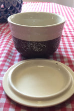 Load image into Gallery viewer, Oxford Pottery Covered Bowl- brown and cream star flower pattern - Lizzy Lane Farm Apothecary