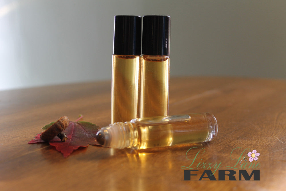 Personal Perfume Oil- HAY RIDE- drying hay bales, and spiced apples - Lizzy Lane Farm Apothecary