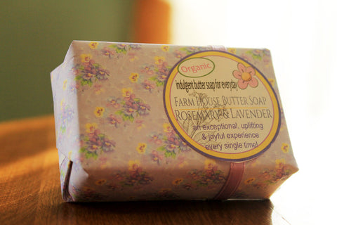 Farm House Butter Bar Soap: Rosemary Lavender Gift Wrapped
