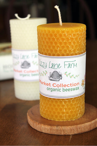 beeswax pillar candle honeycomb pattern
