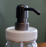 white plastic cap for mason jar soap dispensers, brushed bronze metal soap pump