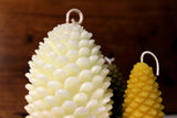 white beeswax pine cone candle large