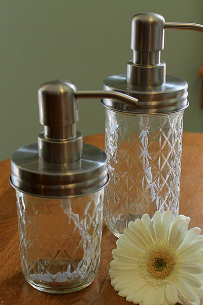 rust proof mason jar soap dispenser quilted jelly